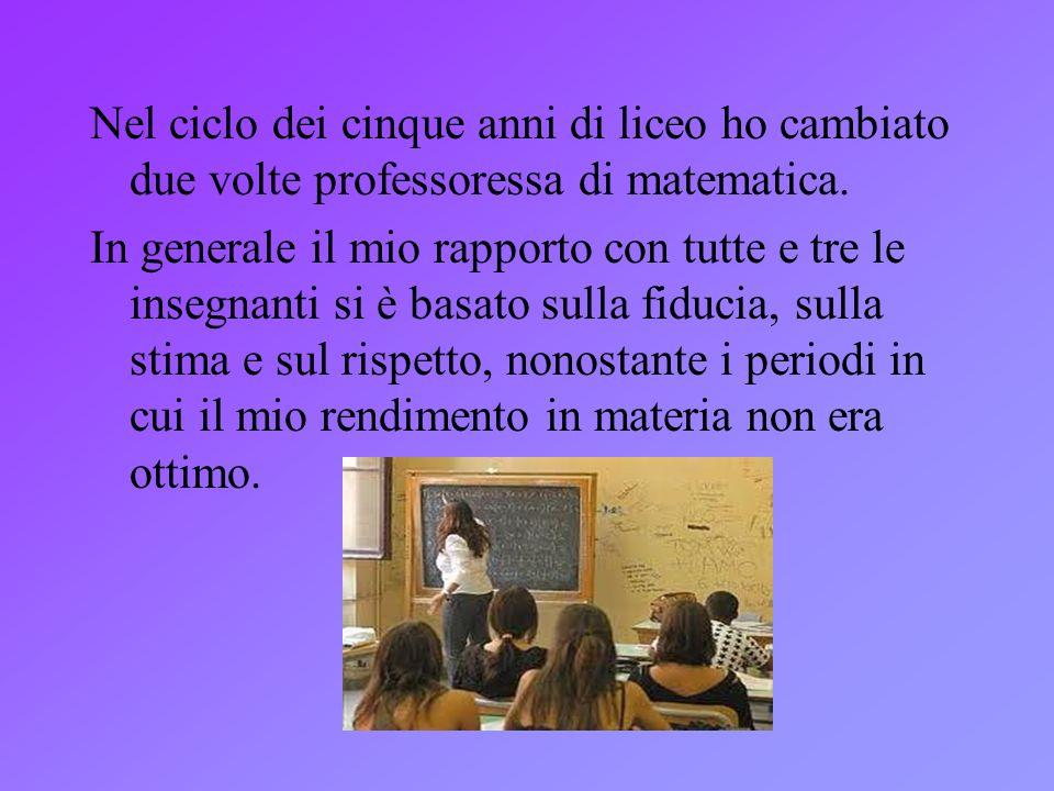 Nel ciclo dei cinque anni di liceo ho cambiato due volte professoressa di matematica.