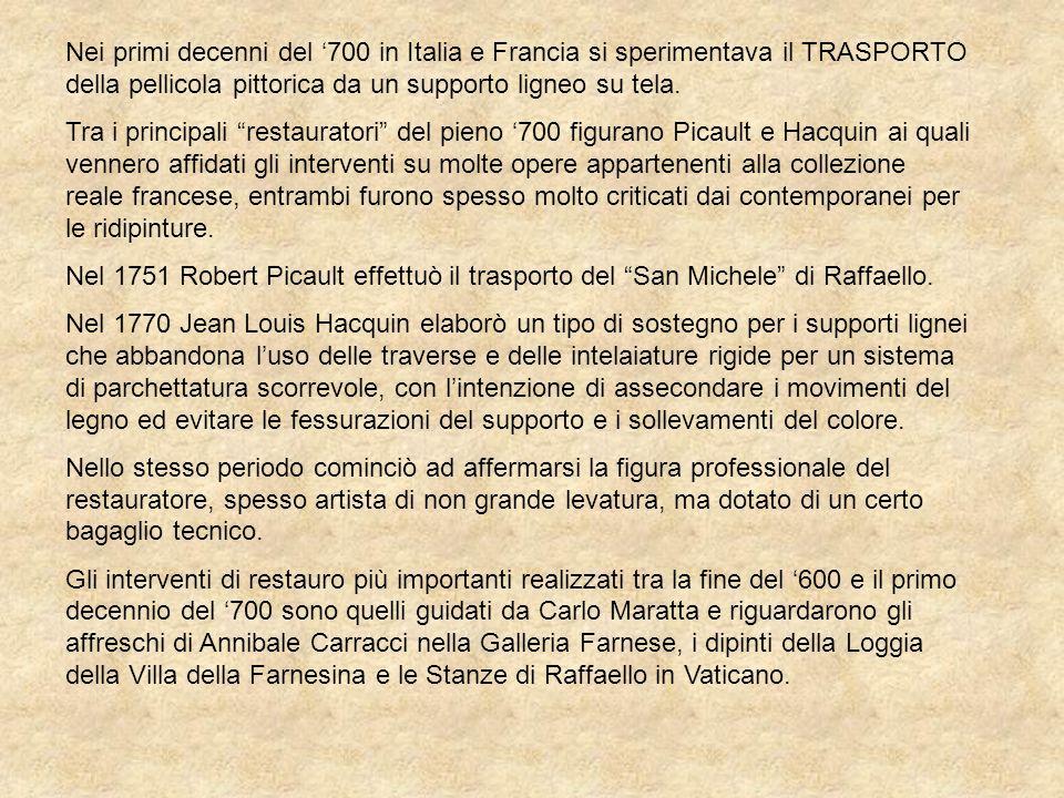 Nei primi decenni del '700 in Italia e Francia si sperimentava il TRASPORTO della pellicola pittorica da un supporto ligneo su tela.