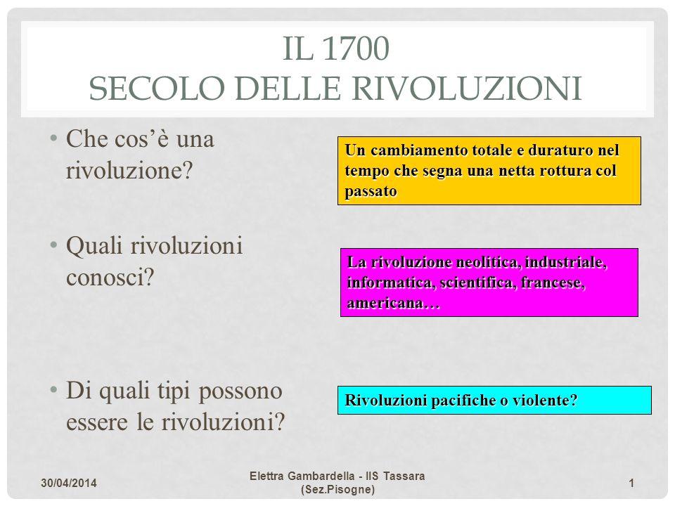 IL 1700 SECOLO DELLE RIVOLUZIONI