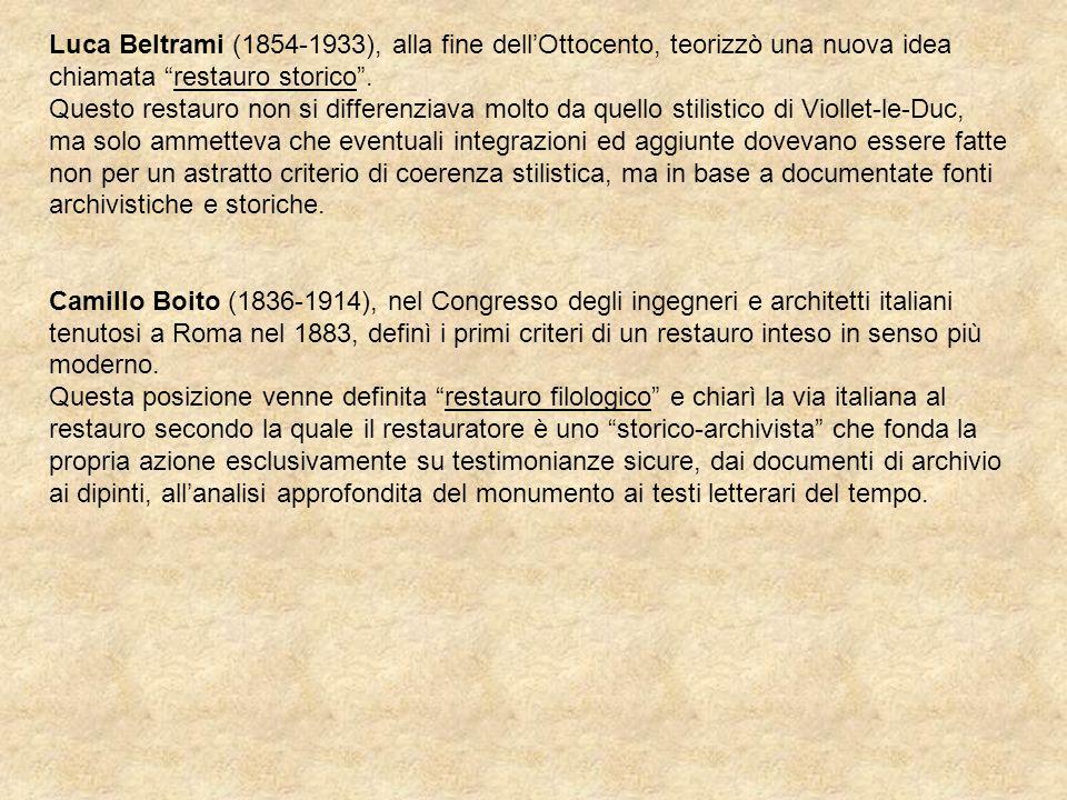 Luca Beltrami (1854-1933), alla fine dell'Ottocento, teorizzò una nuova idea chiamata restauro storico .
