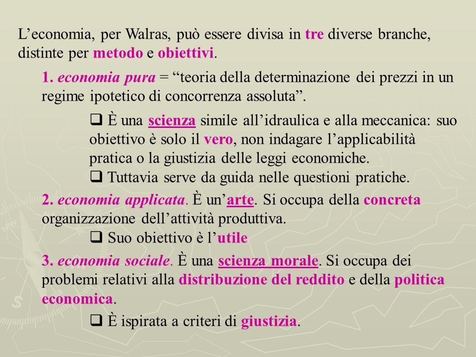 L'economia, per Walras, può essere divisa in tre diverse branche, distinte per metodo e obiettivi.
