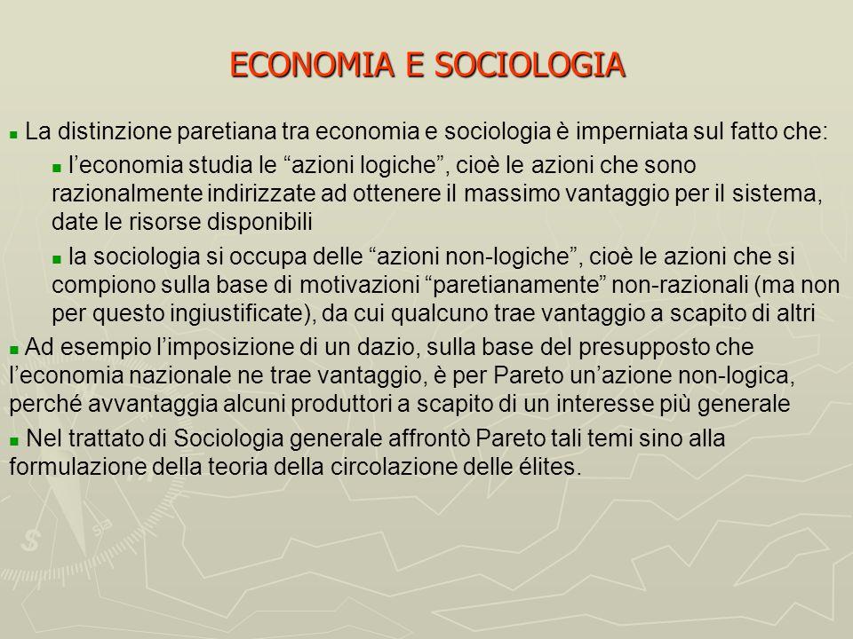 ECONOMIA E SOCIOLOGIA La distinzione paretiana tra economia e sociologia è imperniata sul fatto che: