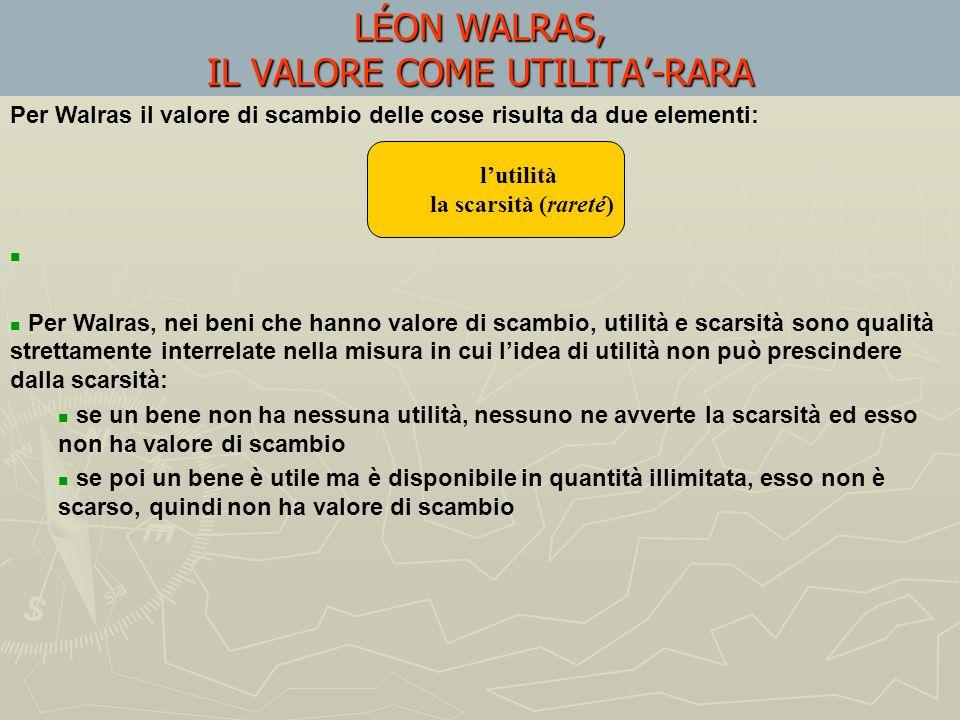 LÉON WALRAS, IL VALORE COME UTILITA'-RARA