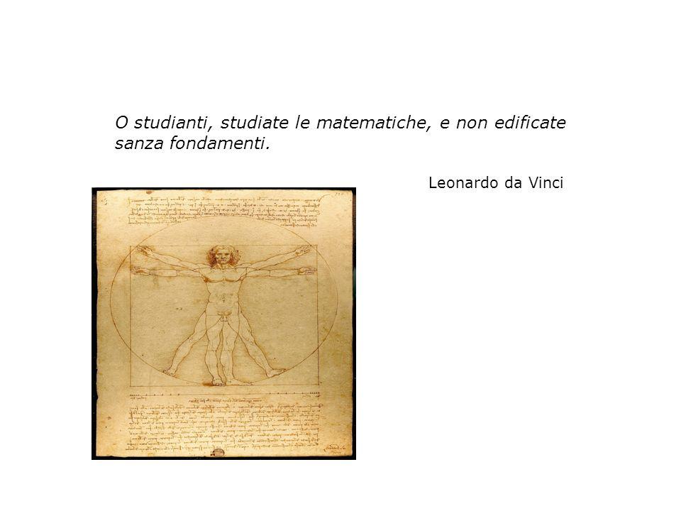 O studianti, studiate le matematiche, e non edificate sanza fondamenti.