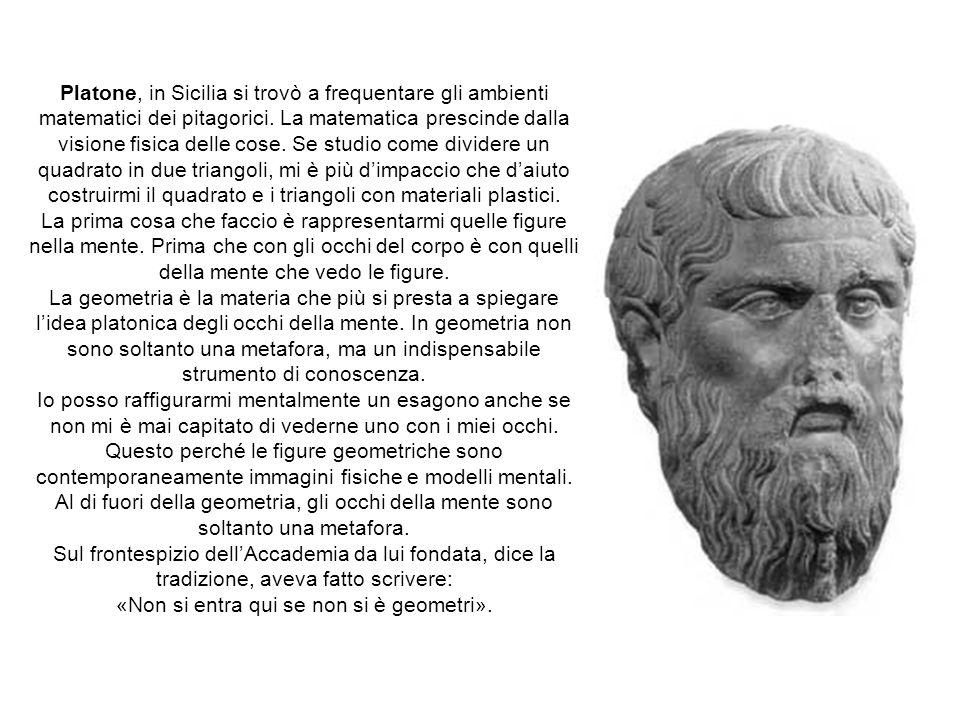 Platone, in Sicilia si trovò a frequentare gli ambienti matematici dei pitagorici.