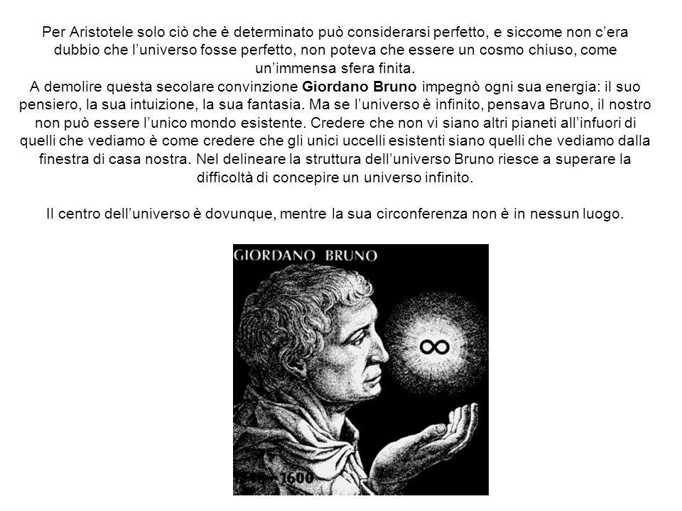 Per Aristotele solo ciò che è determinato può considerarsi perfetto, e siccome non c'era dubbio che l'universo fosse perfetto, non poteva che essere un cosmo chiuso, come un'immensa sfera finita.