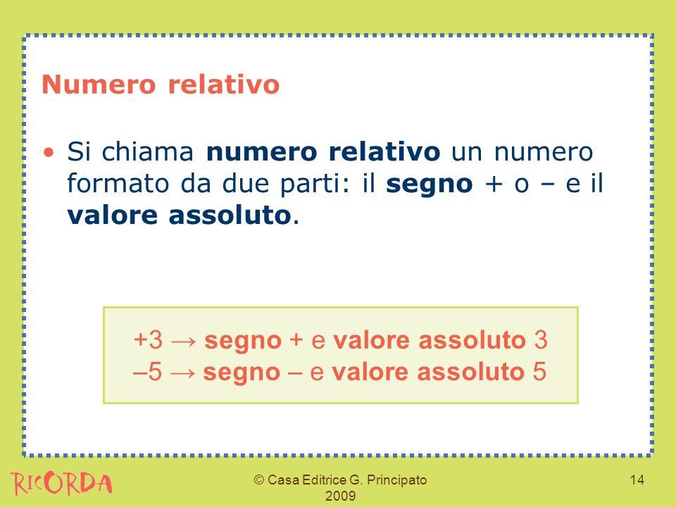 +3 → segno + e valore assoluto 3 –5 → segno – e valore assoluto 5
