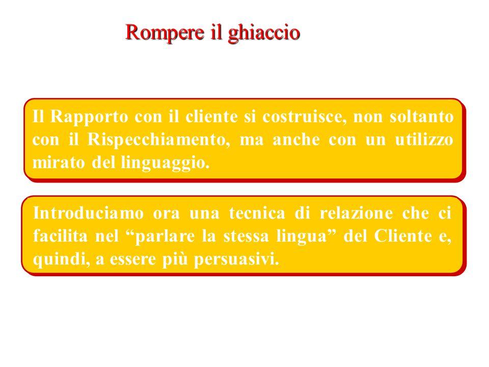Rompere il ghiaccio Il Rapporto con il cliente si costruisce, non soltanto con il Rispecchiamento, ma anche con un utilizzo mirato del linguaggio.