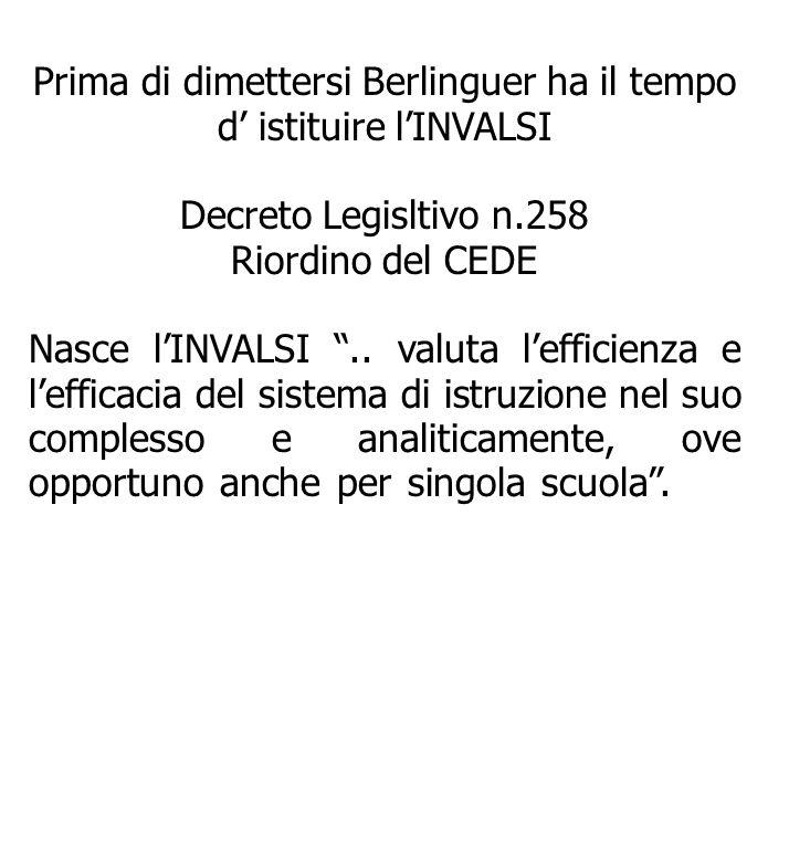 Prima di dimettersi Berlinguer ha il tempo d' istituire l'INVALSI Decreto Legisltivo n.258 Riordino del CEDE