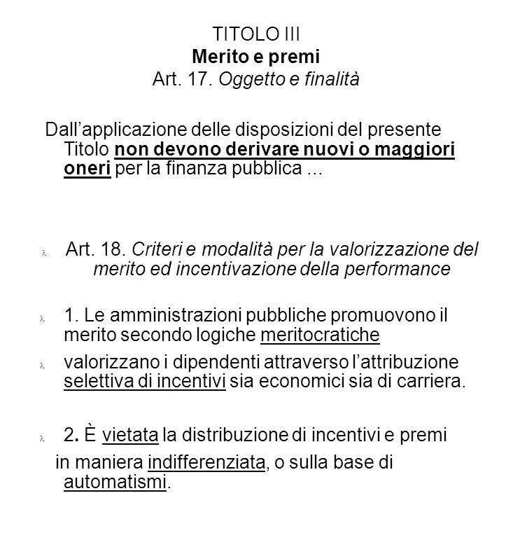 TITOLO III Merito e premi Art. 17. Oggetto e finalità