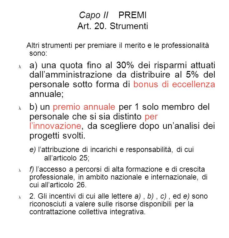 Capo II PREMI Art. 20. Strumenti