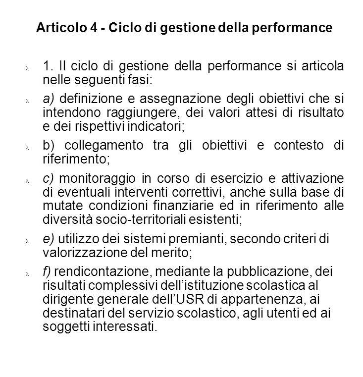 Articolo 4 - Ciclo di gestione della performance