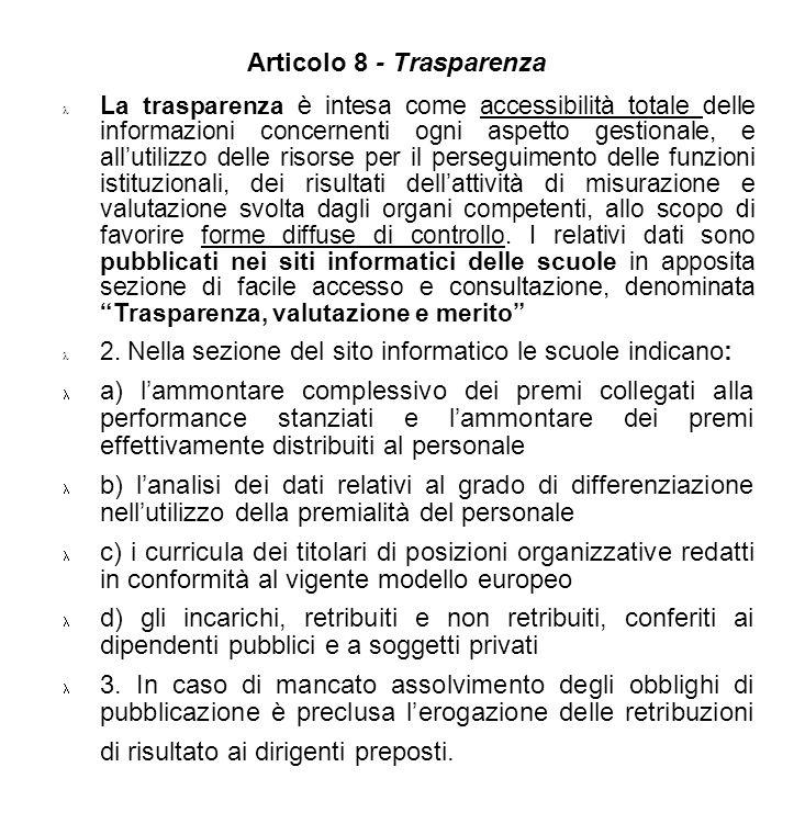 Articolo 8 - Trasparenza
