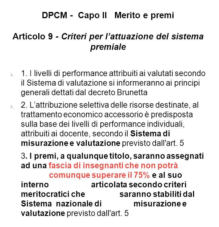 DPCM - Capo II Merito e premi Articolo 9 - Criteri per l'attuazione del sistema premiale
