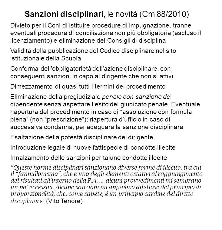 Sanzioni disciplinari, le novità (Cm 88/2010)