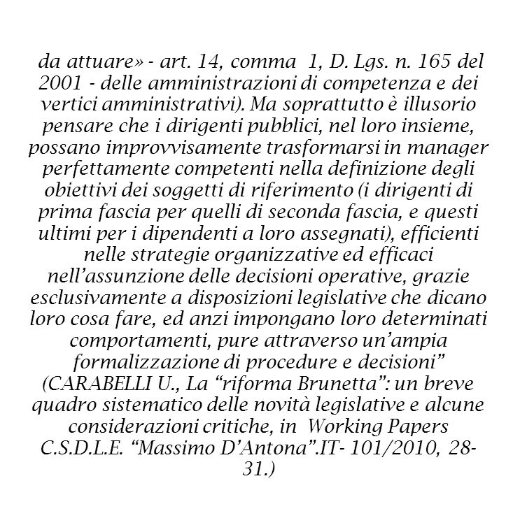 da attuare» - art. 14, comma 1, D. Lgs. n