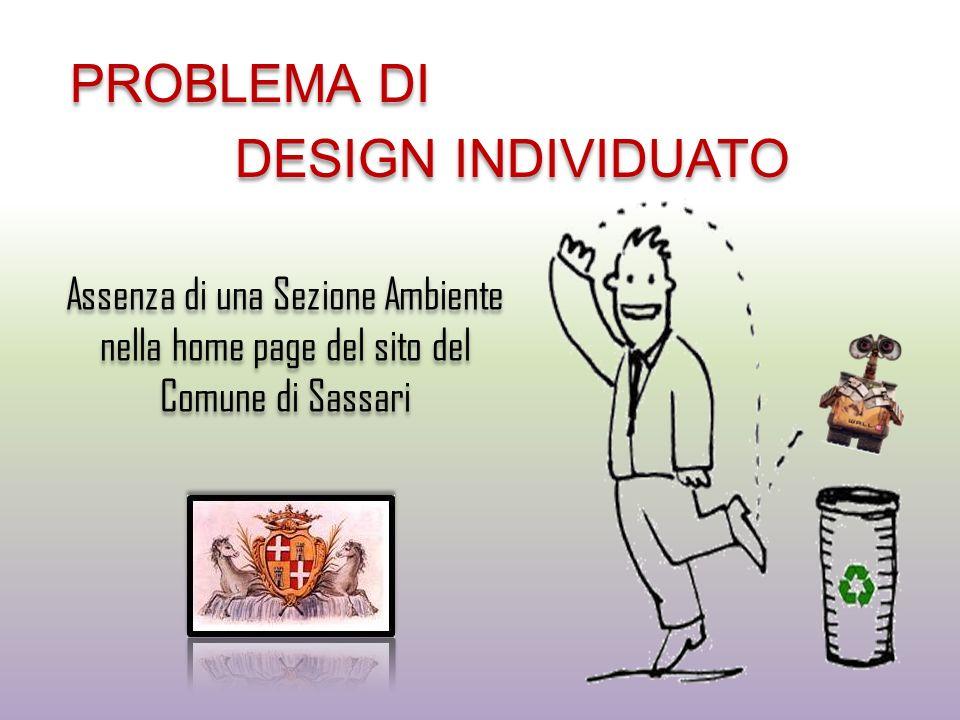 PROBLEMA DI DESIGN INDIVIDUATO
