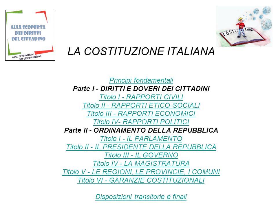 LA COSTITUZIONE ITALIANA Principi fondamentali Parte I - DIRITTI E DOVERI DEI CITTADINI Titolo I - RAPPORTI CIVILI Titolo II - RAPPORTI ETICO-SOCIALI Titolo III - RAPPORTI ECONOMICI Titolo IV- RAPPORTI POLITICI Parte II - ORDINAMENTO DELLA REPUBBLICA Titolo I - IL PARLAMENTO Titolo II - IL PRESIDENTE DELLA REPUBBLICA Titolo III - IL GOVERNO Titolo IV - LA MAGISTRATURA Titolo V - LE REGIONI, LE PROVINCIE, I COMUNI Titolo VI - GARANZIE COSTITUZIONALI Disposizioni transitorie e finali