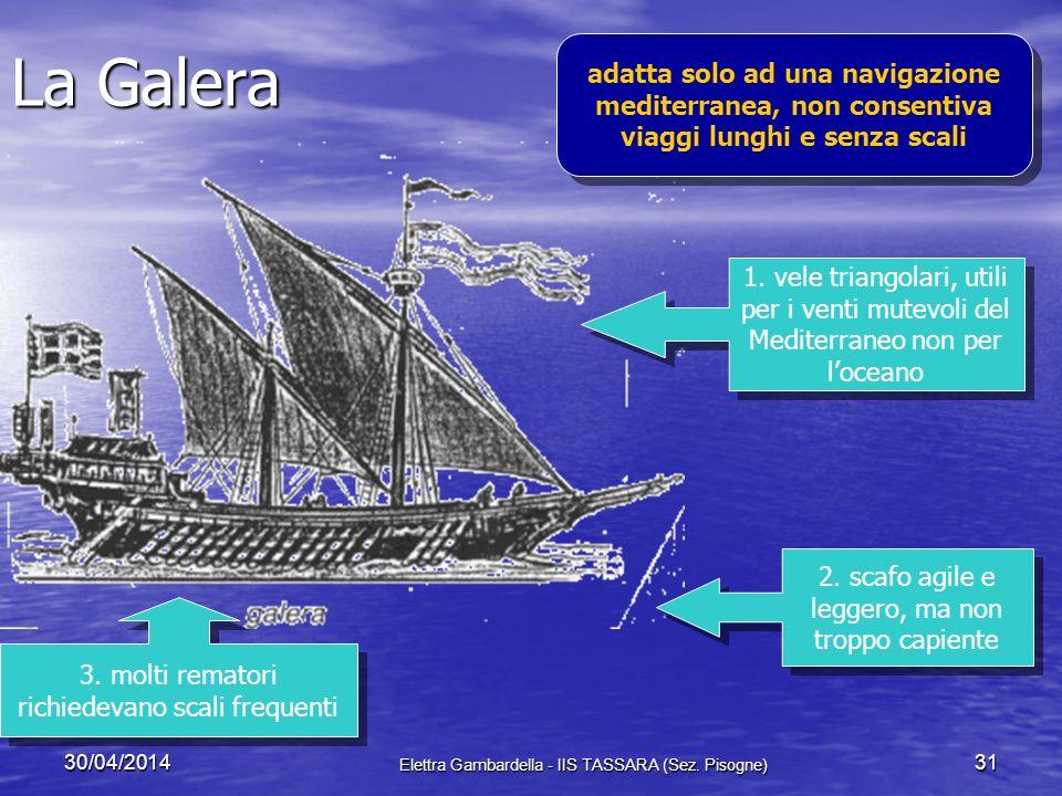 La Galera adatta solo ad una navigazione mediterranea, non consentiva viaggi lunghi e senza scali.