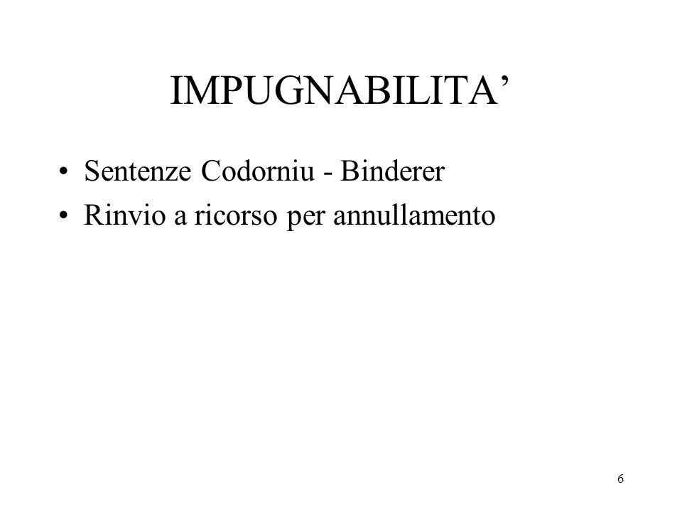 IMPUGNABILITA' Sentenze Codorniu - Binderer