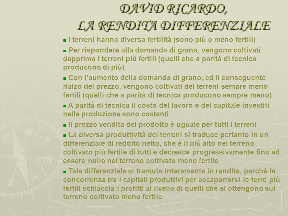 DAVID RICARDO, LA RENDITA DIFFERENZIALE