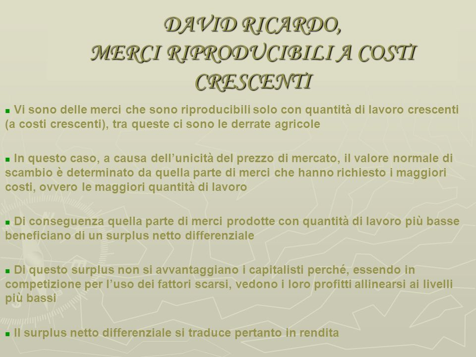 DAVID RICARDO, MERCI RIPRODUCIBILI A COSTI CRESCENTI