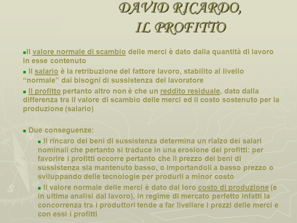 DAVID RICARDO, IL PROFITTO