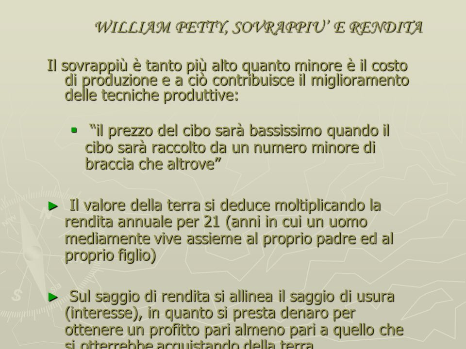 WILLIAM PETTY, SOVRAPPIU' E RENDITA