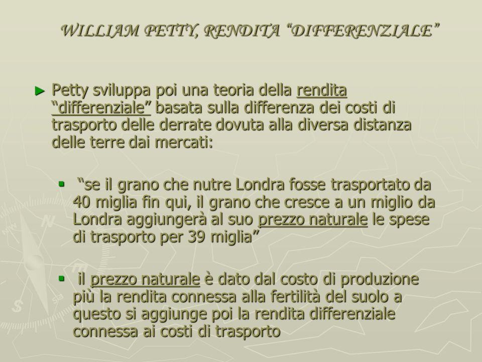 WILLIAM PETTY, RENDITA DIFFERENZIALE