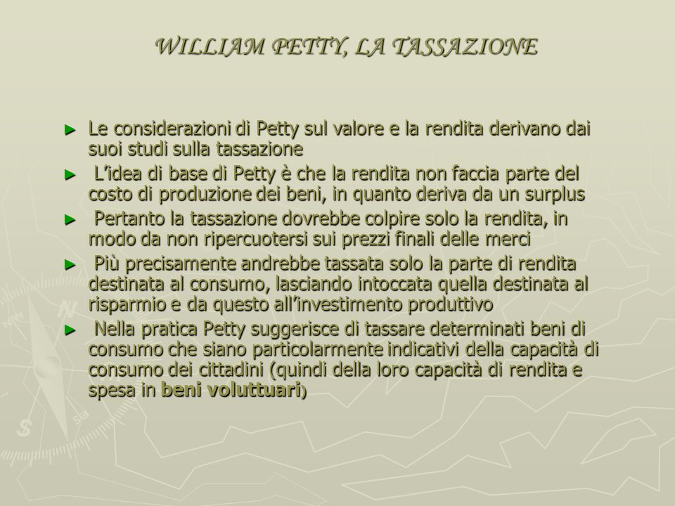 WILLIAM PETTY, LA TASSAZIONE