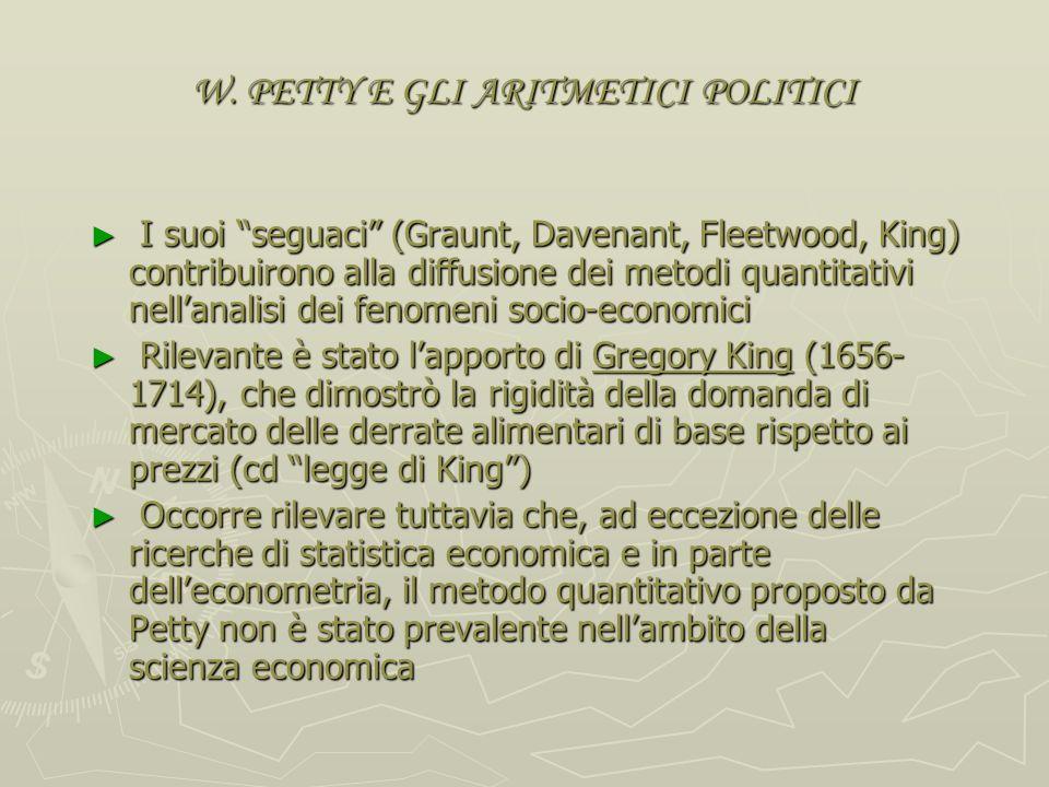 W. PETTY E GLI ARITMETICI POLITICI