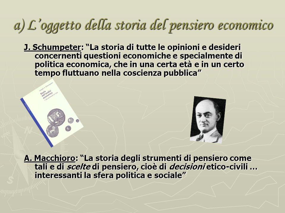 a) L'oggetto della storia del pensiero economico