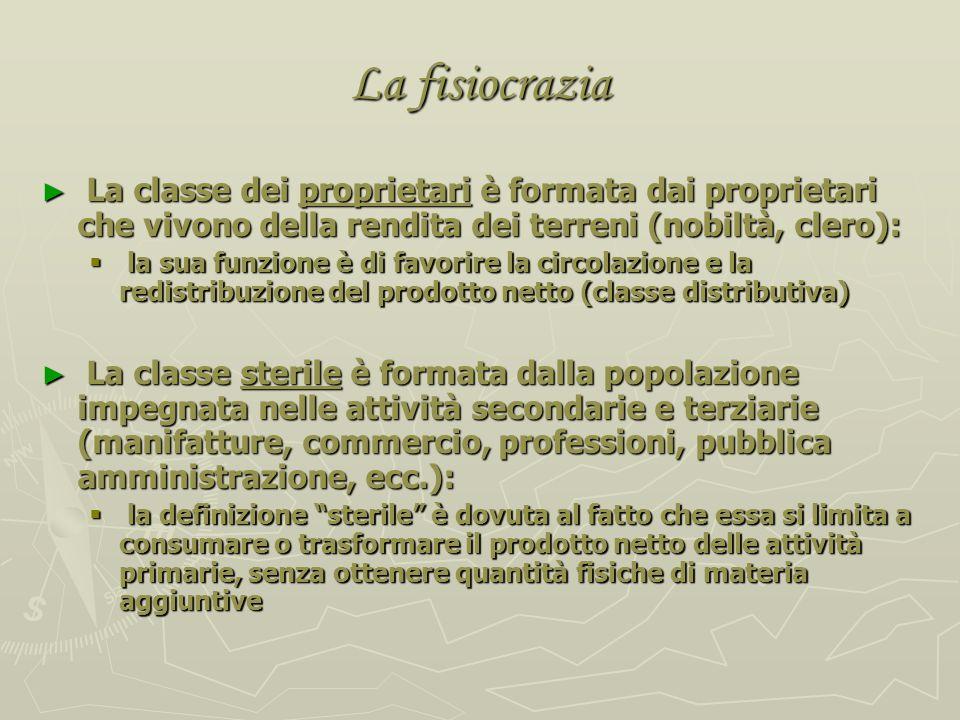 La fisiocrazia La classe dei proprietari è formata dai proprietari che vivono della rendita dei terreni (nobiltà, clero):