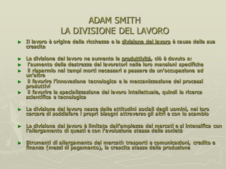 ADAM SMITH LA DIVISIONE DEL LAVORO