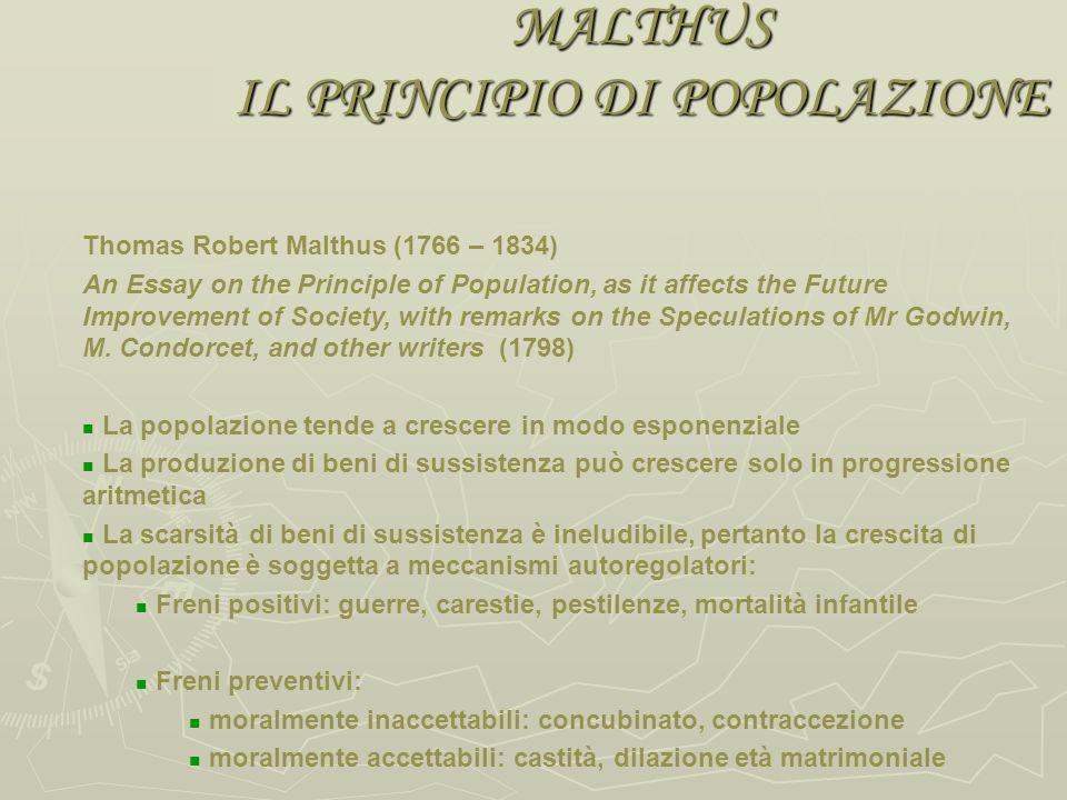 MALTHUS IL PRINCIPIO DI POPOLAZIONE