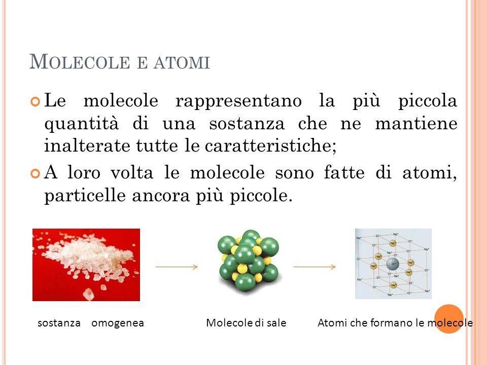 Molecole e atomi Le molecole rappresentano la più piccola quantità di una sostanza che ne mantiene inalterate tutte le caratteristiche;
