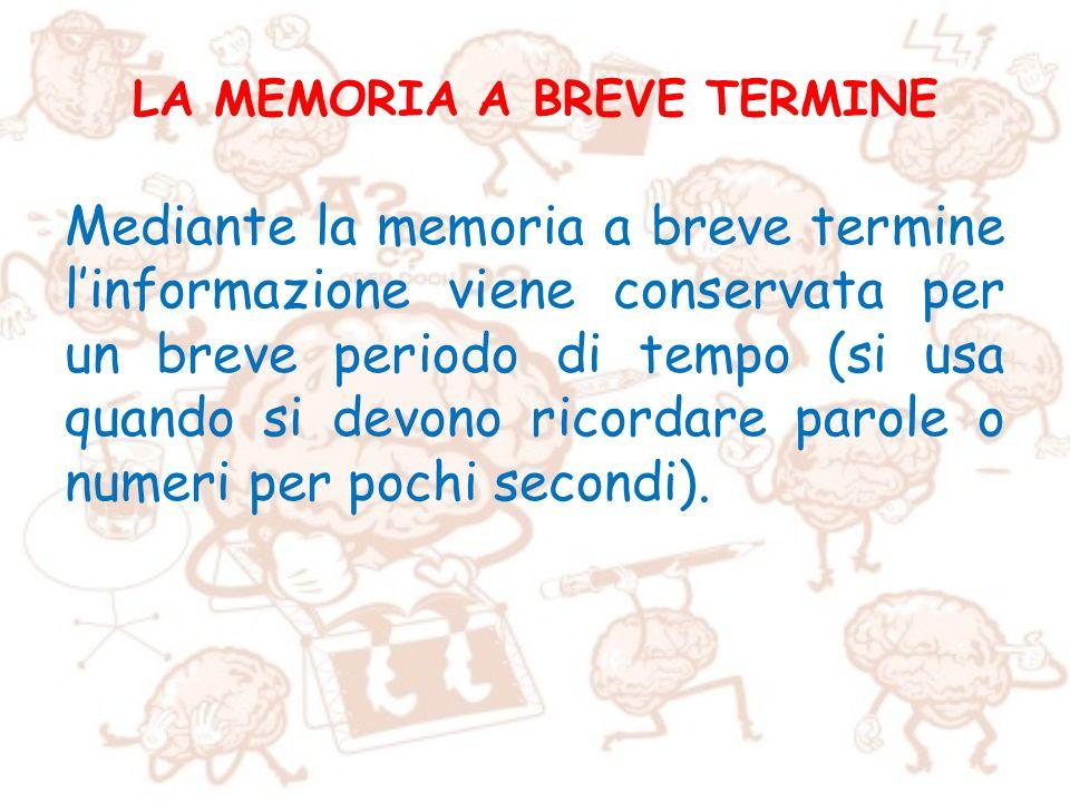 LA MEMORIA A BREVE TERMINE
