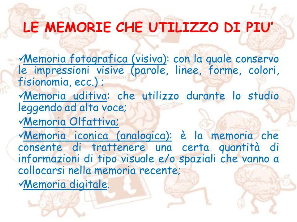 LE MEMORIE CHE UTILIZZO DI PIU'