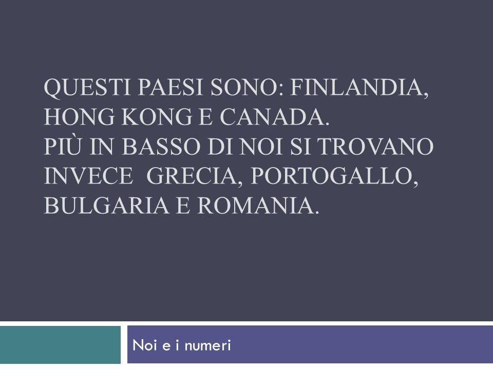 Questi paesi sono: Finlandia, Hong Kong e Canada