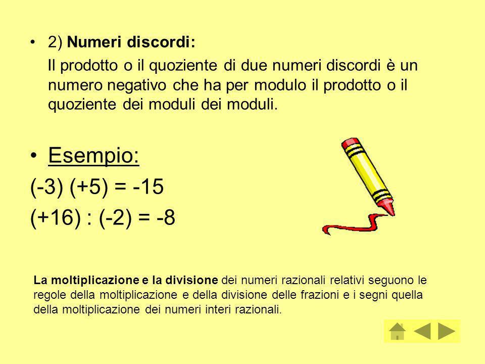 Esempio: (-3) (+5) = -15 (+16) : (-2) = -8 2) Numeri discordi: