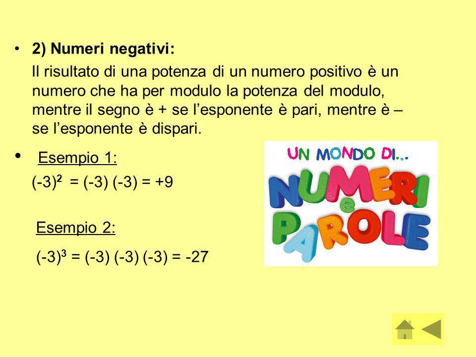 Esempio 1: 2) Numeri negativi: