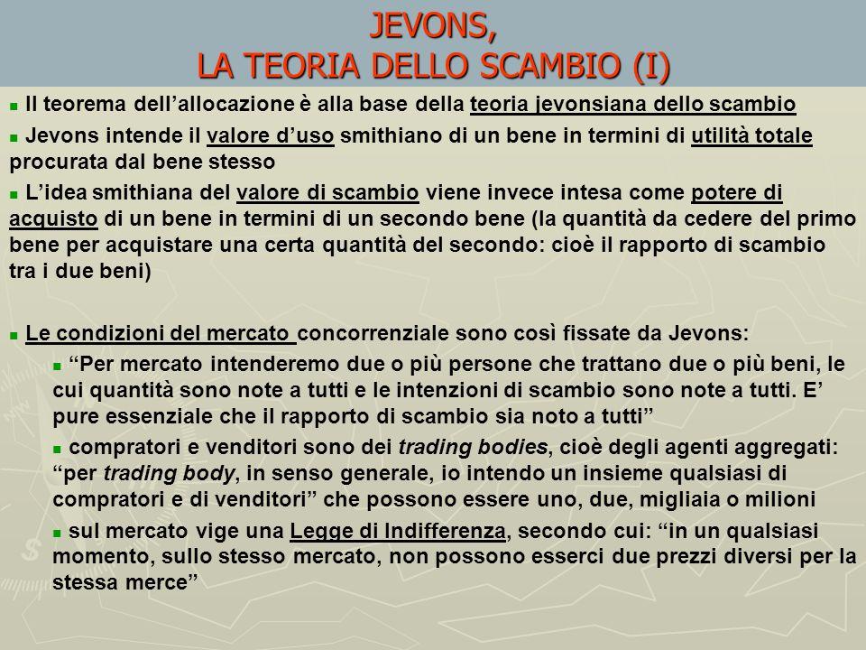JEVONS, LA TEORIA DELLO SCAMBIO (I)