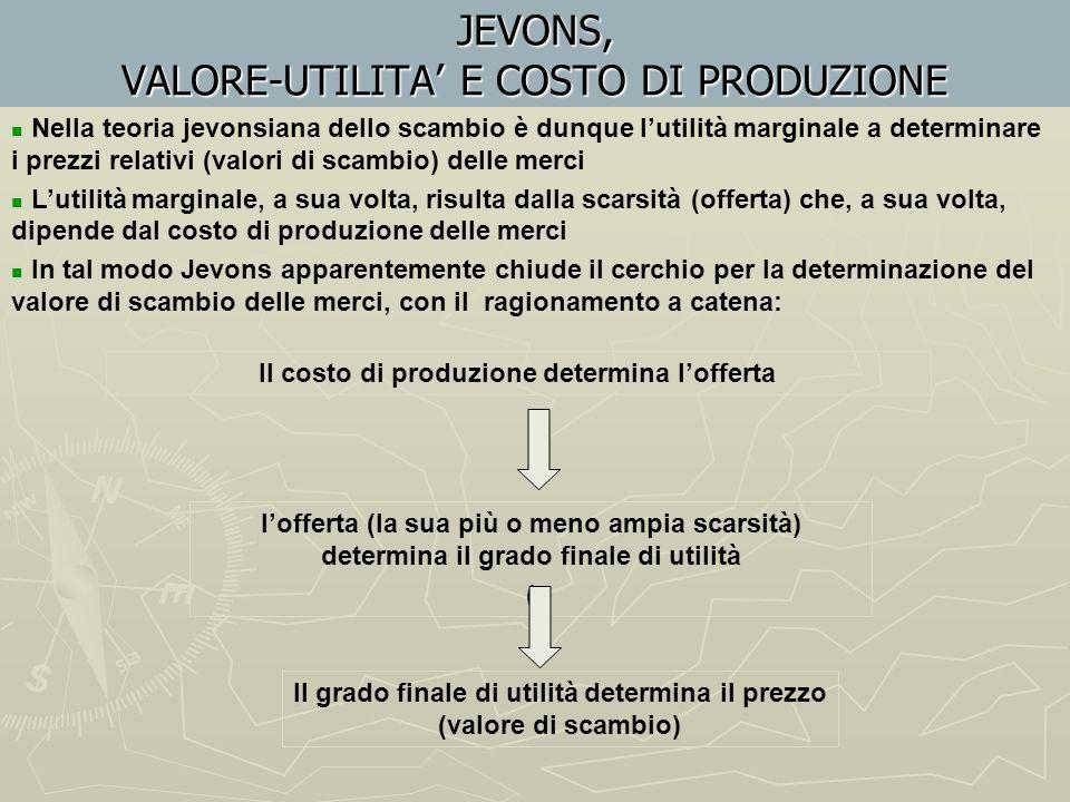 JEVONS, VALORE-UTILITA' E COSTO DI PRODUZIONE