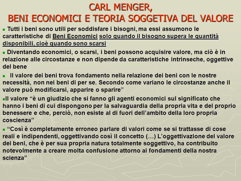 CARL MENGER, BENI ECONOMICI E TEORIA SOGGETIVA DEL VALORE