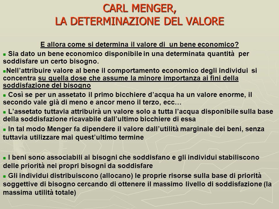 CARL MENGER, LA DETERMINAZIONE DEL VALORE
