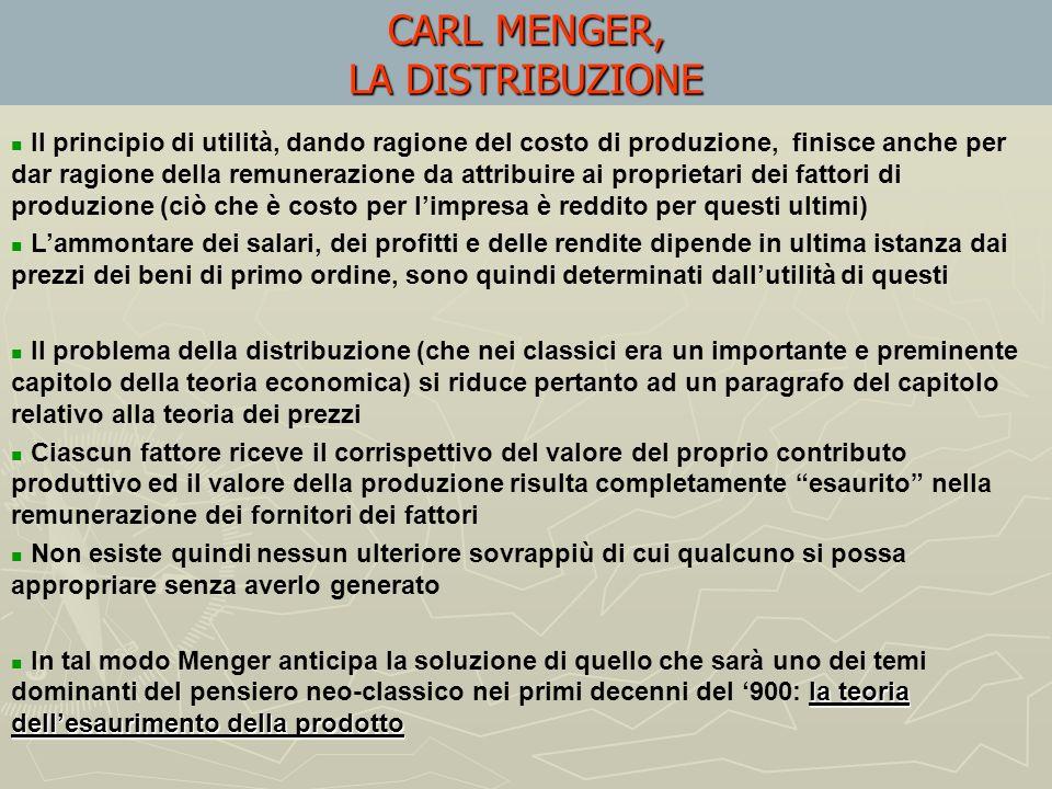 CARL MENGER, LA DISTRIBUZIONE