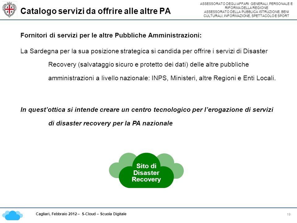 Catalogo servizi da offrire alle altre PA