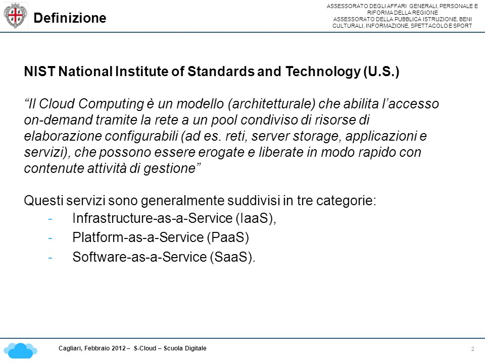 Definizione NIST National Institute of Standards and Technology (U.S.)