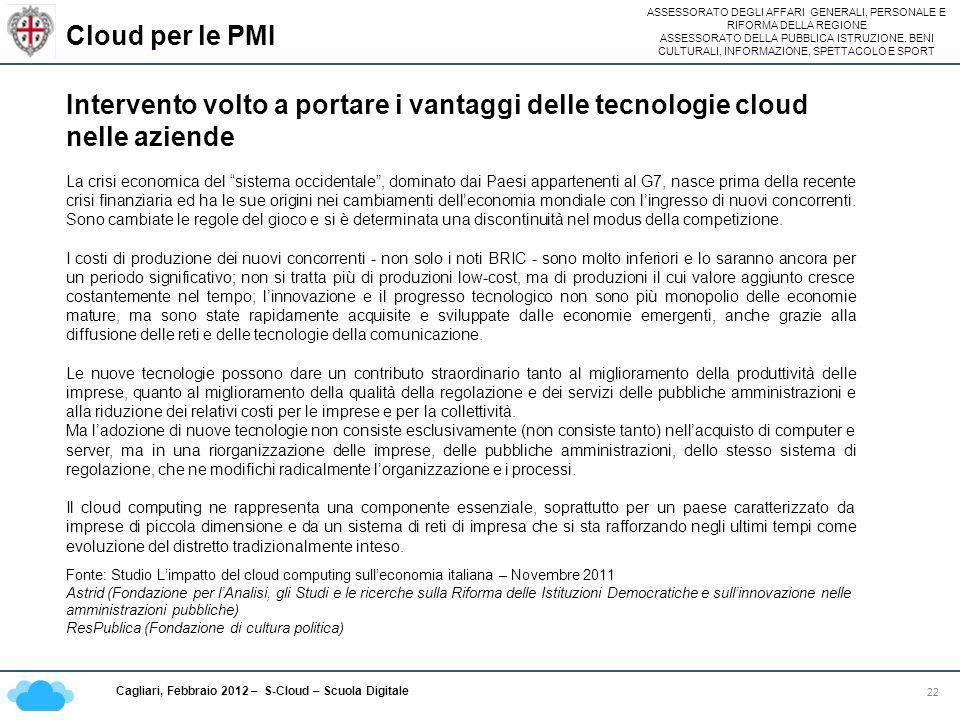 Cloud per le PMI Intervento volto a portare i vantaggi delle tecnologie cloud nelle aziende.