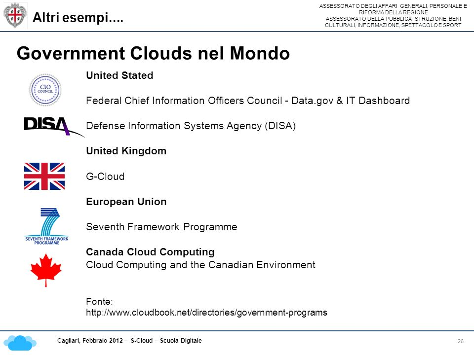 Government Clouds nel Mondo